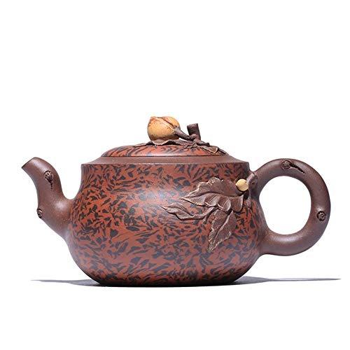 Bin Zhang Cao Zhigang violet pot d'argile théière pot de boue tordu-main Yixing thé Appliqué fleur de pêche pot produits gourde (Color : Purple mud, Size : Taille unique)