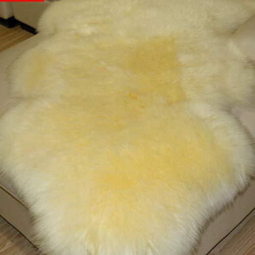 Luxurupeng pura lana, completa alfombra de piel de oveja, sala de estar dormitorio cojín sofá silla cojín cojín ventana, Color crema, Crown 2p 70 * 210cm