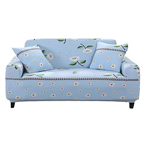 H-CAR Funda de sofá elástica Antideslizante Impresa Funda de Muebles antiincrustante Todo Incluido Funda de sofá elástica de 1 Pieza para Mascotas, para Cuatro Estaciones, Azul, 4 plazas