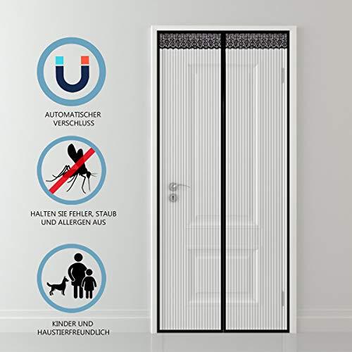 Diyife® Fliegengitter Magnetvorhang 90x210cm, verhindern Sie Bugs und Moskitos, Heavy Duty Mesh Vorhang und Full Stoffpaste - Kinderleichte Klebemontage Ohne Bohren