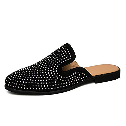 CAIFENG Zapatillas para Hombres Sandalias Casuales Deslice en Estilo Cuero de Buey Medio Zapatos remolques Pure Colores Pure Diamond Decor (Diamante Blanco es Opcional)