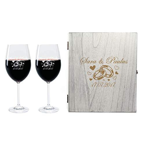 FORYOU24 2 Leonardo Weingläser mit Vintage Geschenkbox und Gravur Ringe zur Hochzeit Geschenkidee Wein-Gläser graviert