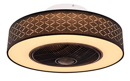 Design LED Decken Lampe Ventilator Lüfter Kühler Fernbedienung 3-Stufen Kühler Schwarz-Gold Leuchte Lufterfrischer Globo 03621