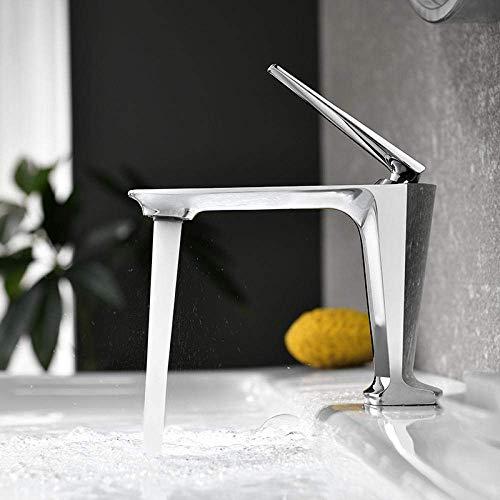 HAOSHUAI Grifo Moderno Minimalista de baño Grifo Lavabo Grifo del Fregadero de latón Macizo Grifo de Mezcla de Grifo (Color : Chrome)