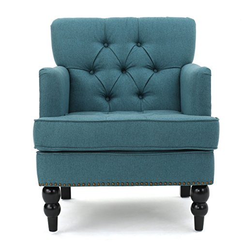 Tufted Club Chair, Decorative Accent Chair with Studded Details - Dark Teal