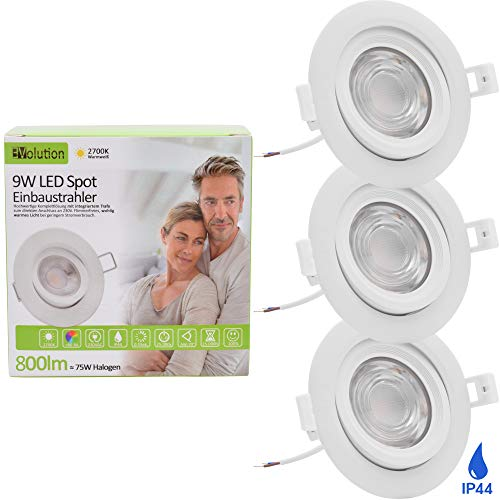 3x Evolution LED Einbaustrahler 9W 800lm IP44 Strahler 230V Wohn und Badezimmer schwenkbar 2700k Deckenspots Einbauspots Einbau-Strahler Deckeneinbaustrahler Einbauleuchte Deckenstrahler