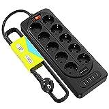 YARUIKE Regleta Enchufes Con 10 tomas, 1 puertos Type-c y 4 puertos USB inteligentes, Interruptor de control con protección contra sobrecargas y cortocircuitos, Cable de 2M, 2500W/10A