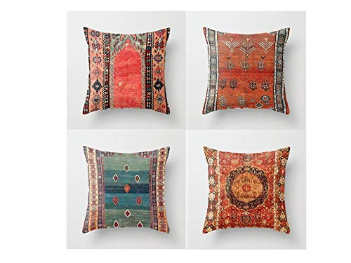 Jwqing Pack of 4 Decorative Pillow Covers Vintage Art Pattern Persian Ethnic Style Square Cushion Cover Throw Pillow Covers Home Decor for Sofa Bedroom-D_60x60cm(Cushion_Cover)