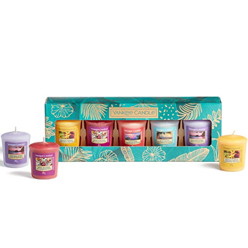 Yankee Candle Coffret cadeau | 5 bougies votives parfumées | The Last Paradise Collection | Idéal pour la fête des mères
