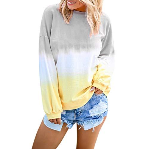 HGWXX7 Women's Casual Gradient Long Sleeve Shirt Tops Pullover Sweatshirt Blouse Plus Size Gray