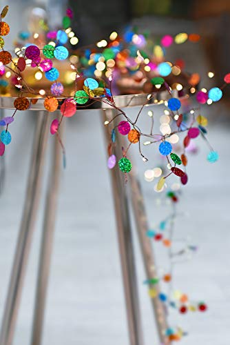 Multi Coloured Confetti String Light with 108 Warm White LEDs - Battery Operated