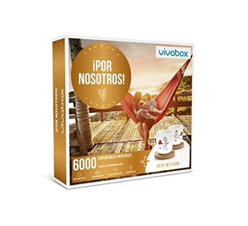 VIVABOX Caja Regalo para mamá -¡por Nosotros!- 3.300 Momentos Especiales. Incluye: un Juego de 2 Tazas Originales con Platos de Madera