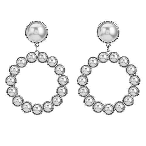 BJINUIY Große Ohrringe mit Perlenohrringen, Europäische und Amerikanische Netto-Ohrringe aus rotem Temperament, Simple Atmosphere Design Concept Silver