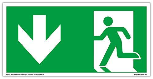 Schild Notausgang | extra langnachleuchtend | PVC selbstklebend 297x148mm | gemäß ASR A1.3 DIN 7010 DIN 67510 | Notausgangsschild Pfeil Links abwärts | Fluchtweg Rettungsweg | Dreifke® extra 160