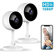 WiFi Security Camera, Littlelf 1080P Home Security Camera Wireless Indoor with 2-Way Audio, Manual Night Vision, Human Motion Detection for Pet/Elder/Baby Monitor, Work with Alexa - 2 Pack