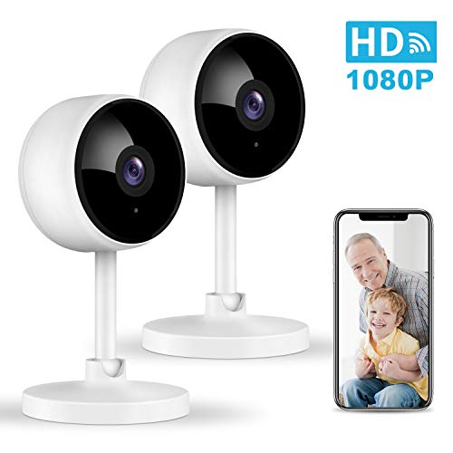 Home Security Camera, Littlelf 1080P Indoor WiFi Surveillance IP Camera with Manual Night Vision, 2-Way Audio, Human Motion Dectetion for Pet/Office/Baby Monitor, Worked with Alexa - 2 Pack
