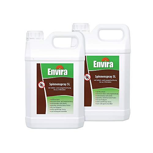 Envira Spinnen-Spray - Anti-Spinnen-Mittel Mit Langzeitwirkung - Geruchlos & Auf Wasserbasis - 2 x 5 Liter
