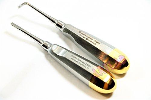 2 Crown Remover CVD/STR German Grade Gold Handle Dental Surgical Instrument (CYNAMED)