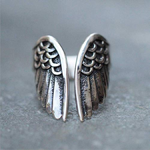 Duan Antique Stainless Steel Ring Feather Angel Wing Cast Black Vintage Open Cuff Ring Punk Jewelry