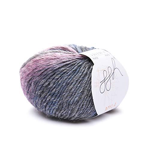 ggh Myla, Farbe:002 - Grau-Pastell meliert, Schurwolle Mischung, 50g Wolle als Knäuel, Lauflänge ca.100 m, Verbrauch 550g, Nadelstärke 5-6, Wolle zum Stricken und Häkeln