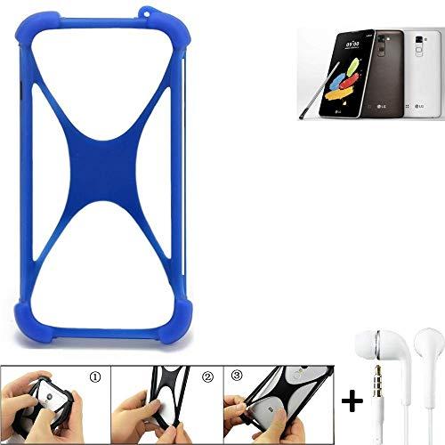 K-S-Trade® Bumper Für LG Stylus 2 DAB+ Schutzhülle Handyhülle Silikon Schutz Hülle Cover Case Silikoncase Silikonbumper TPU Softcase Smartphone, Blau (1x), Headphones