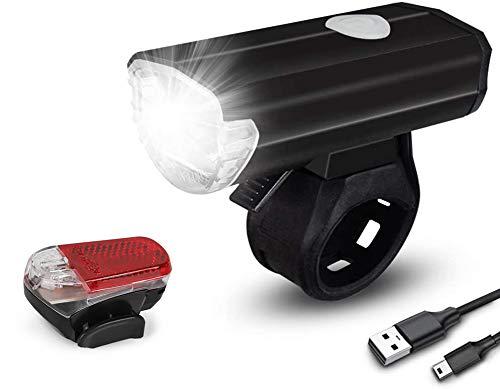 Sanfant Fahrradlicht - Fahrradlicht Set, Fahrradlicht USB Aufladbar, StVZO Zulassung Fahrradbeleuchtung, 2 Licht-Modi Frontlicht und Rücklicht Set