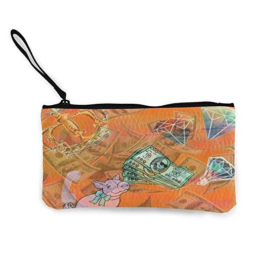Monedero de lona con asa y cremallera, portátil, de viaje, para guardar lápices y lápices