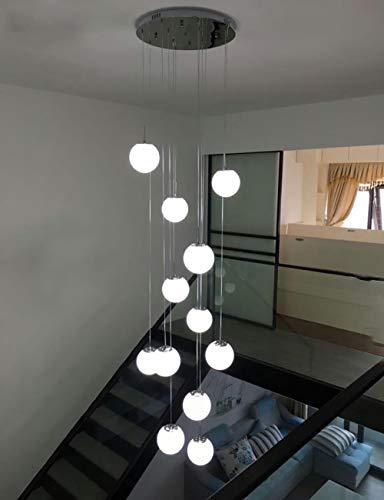 12 bolas de cristal Escalera de la araña luces colgantes modernas para...