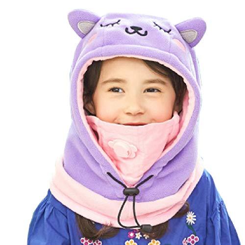 Azarxis Kinder Sturmhaube Thermische Balaclava Winddichte Skimaske Gesichtsmaske für Outdoor Jungen Mädchen (Lila - Katze)