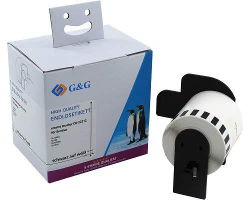 G&G endlos Etiketten kompatibel zu Brother DK-22212 (62 mm x 15,24m) schwarz auf wei√ü