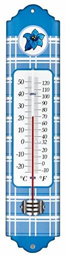 TFA Dostmann Enzian Thermomètre intérieur et extérieur en métal bleu ((L) 66 x (l) 13 x (H) 295 mm