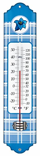 TFA-Dostmann Thermomètre d'intérieur et extérieur en métal avec motif 12.2054 bleu