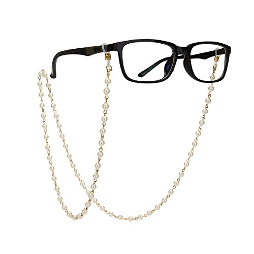 Tinksky Pearls Bead Eyeglass Chain Strap Sunglass Holder Lanyard Necklace Spectacles Holder Sunglasses Neck Cord Strap Golden