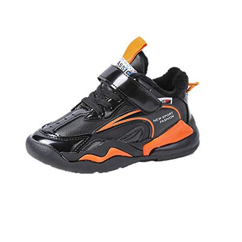 Calzado Deportivo para niños en otoño e Invierno más Cachemira Calzado Deportivo cálido Superficie de Cuero Zapatos Planos Antideslizantes Calzado Ligero para Correr Calzado para niños pequeños