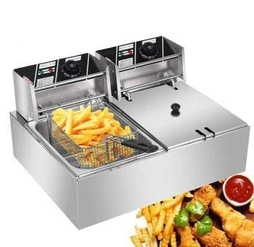 Kitchen Frying Machine, 2 Baskets Deep Fryers Commercial Deep Fryers With Temperature Control, 5000W MAX 12.7QT/12L Stainless Steel Double Cylinder Electric Fryer