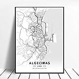 Póster del Mapa del Arte de la Lona de Bilbao Gijon Barcelona Valencia Algeciras Ourense España 50x70cm Sin Marco AQ-866