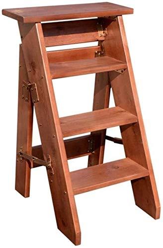 Taburete Silla Plegable for Adultos 4 Escaleras de Mano de Rodadura, de Madera escaleras de Tijera de heces, de Altas Prestaciones Escalera Paso Asiento