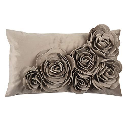 Pad - bloemen - kussenhoes - fluweel kussen - sierkussen - kussenhoes - bloemen applicaties - 30 x 50, taupe