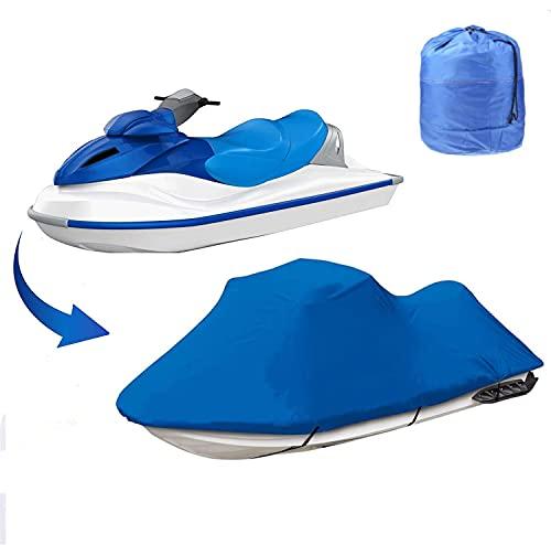COOSOO Jet Ski Cover Trailerable Jet Ski Cover Cubierta de Moto acuática Personal Impermeable al Aire Libre para 420 * 300cm contra la Lluvia de Polvo Daños UV (Azul)