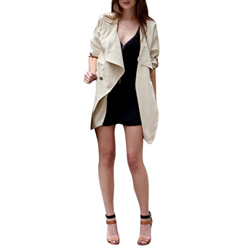 Women Irregular Jacket Among Autumn Spring Solid Color Cardigan Coat Long Sleeve Casual Top Outwear (L, Khaki)