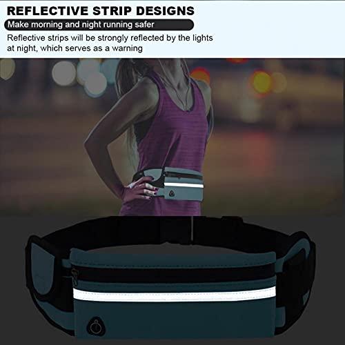 Bolsa de cintura deportiva para correr al aire libre con tira reflectante, paquete de cinturón impermeable antirrobo de 4-6 pulgadas bolsa de almacenamiento para teléfono móvil para maratón (azul)