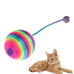 yanhonin 20pcs juguete para gato–Cuerda colorée en Nylon elástico Teaser de bola suave el sonajero Kitty Naughty juguetes 11