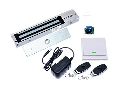 Erokku 600lbs Commercial Electromagnetic Lock kit Wireless Access Control with Remote Outswinging Door Security System