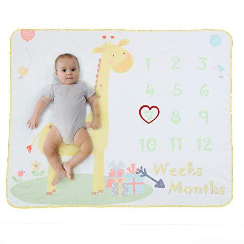 Manta Polar Bebe Con Hito Mensual Fotografia Suave, Mantitas Bebe Recien Nacido, Manta Arrullo Bebe para Niña & Niño Blanco 120 * 100cm (Jirafa)