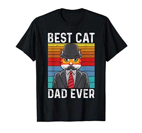Best Cat Dad Ever Vintage Mustache Retro Sunset Fathers Day Camiseta