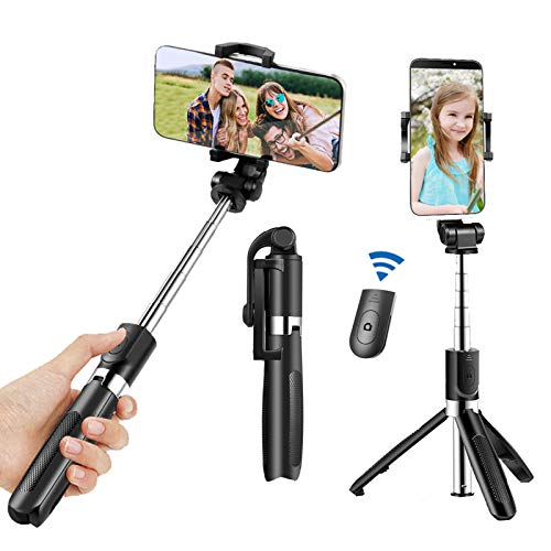 Selfie Stick Tripod for iPhone, Cell Phone Tripod Stand with Bluetooth Wireless Remote, 3 in 1 Portable Extendable Lightweight Tripod Compatible withiPhone/Samsung/Huawei and More (Black)