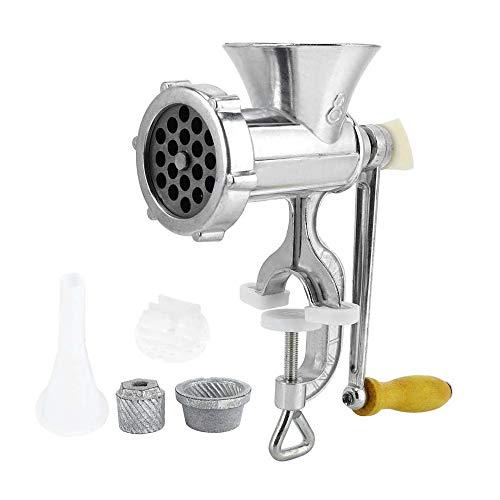 LHK Fleischwolf, manuell, Fleischwolfmaschine, Aluminiumlegierung Haushalt Handkurbel Wurst Stuffer Küchenwerkzeug mit Tischklemme, für Gemüse Knoblauch Früchte
