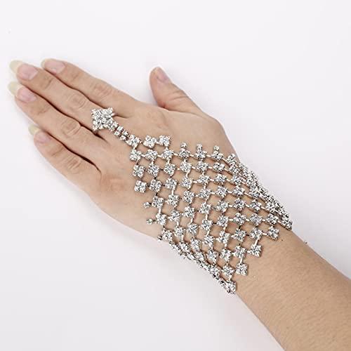 Taosheng Guantes de boda de cristal, pulsera de oro y plata, accesorios de boda (color: oro)
