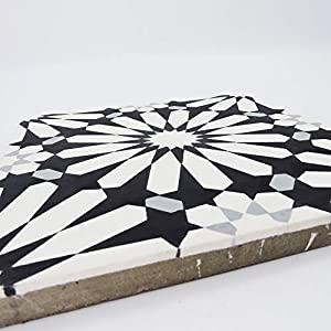 Moroccan Mosaic & Tile House CTP54-01 Alhambra 8''x8'' Handmade Cement Tile in Multicolor(Pack of 12), BlackWhiteGray