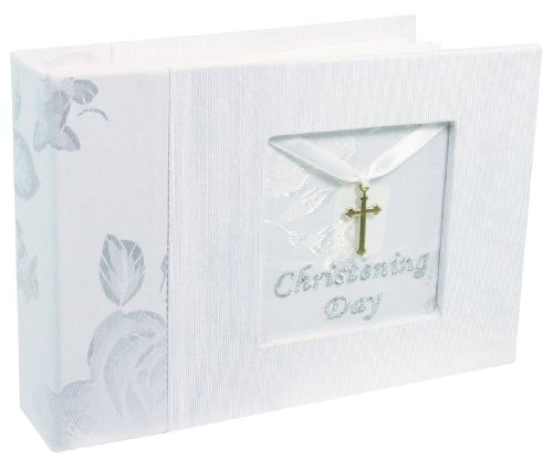 Stephan Baby Christening Keepsake Photo Album with Silver Cross Charm, White